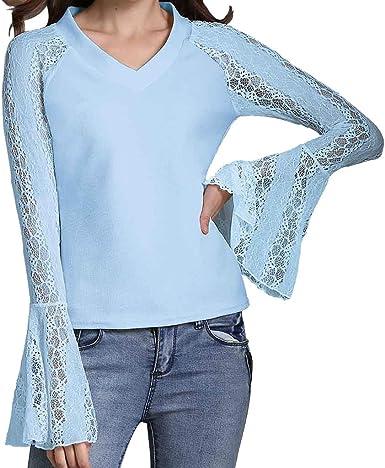 ZODOF Tops Mujer, Mujeres Elegante Camisetas de Encaje Floral Mangas Largas See Through T Shirt Camisas Basic Blusa Tops: Amazon.es: Ropa y accesorios