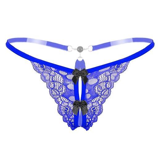 61bb59c8e64 Joopee Women's Sexy Lace Pearl Low-Waist G-String Butterfly Pattern Briefs  Hollow Underwear