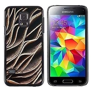 FECELL CITY // Duro Aluminio Pegatina PC Caso decorativo Funda Carcasa de Protección para Samsung Galaxy S5 Mini, SM-G800, NOT S5 REGULAR! // Abstract Lines Read Leaves Pattern