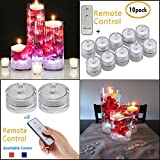 SLBSTORES SUB32-10PK Submersible led light with remote for Vase Centerpieces wedding party decoration waterproof flameless led tea light 10 pack (White)