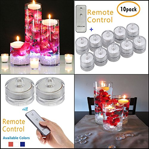 SLBSTORES SUB32-10PK Submersible led light with remote for Vase Centerpieces wedding party decoration waterproof flameless led tea light 10 pack (White) by SLBSTORES