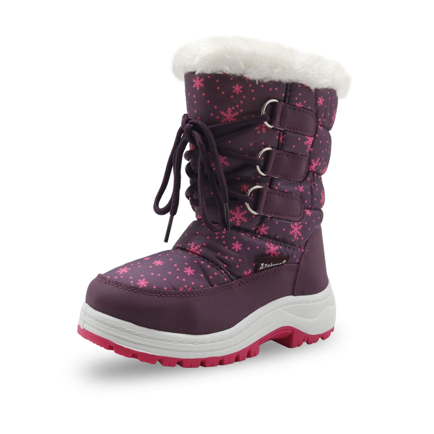 Winter Girls Mid-Calf Plush Snow Boots Little Princess Outdoor Durable Boots with Zipper Toddler Kids Anti-Slip Shoes
