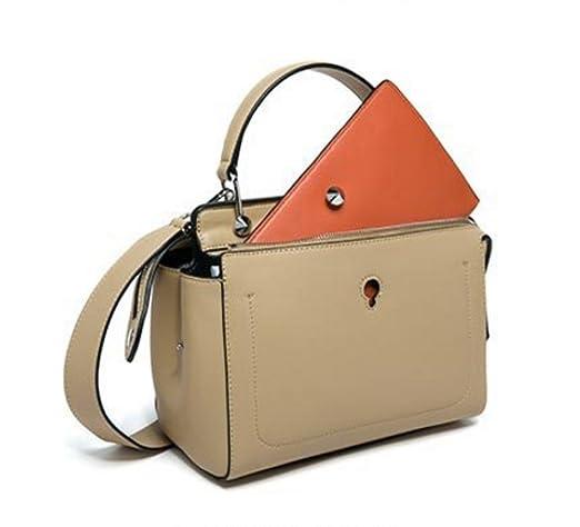 Frauen Echtes Leder Doppel-Reißverschluss Handtasche Kleine Karten-Satz Innerhalb Einzelner Schulter-Beutel.,Blue-25.5*13*18cm Addora