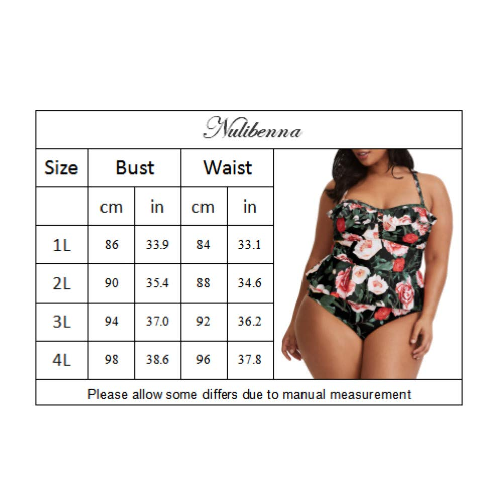 2d6c0b4a104 Nulibenna Womens Plus Size Floral Swimsuit Two Piece Peplum Swimwear Retro  Inspired Bathing Suit
