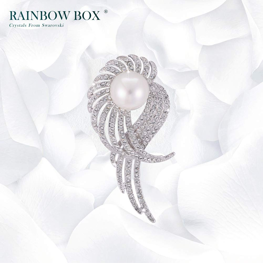 Rainbow Box Pearl Brooch Pins with Swarovski Crystal, Rhinestone Women's Brooches & Pins by RAINBOW BOX (Image #6)