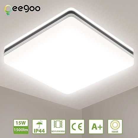 Oeegoo Luz de techo LED 15W, lámpara de baño sin parpadeo ...
