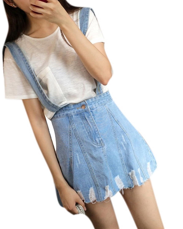Women's Casual Sexy High Waist Ripped Blue Denim Jean Overall Short Skirt Dress