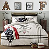 American Freshman, Eagle motif Bed set, includes Duvet Cover & Pillow case (King) by Ashley Wilde