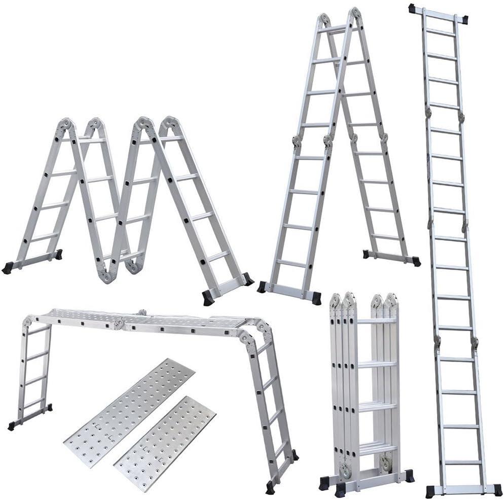 homgrace 4.7 M escalera multiusos Escalera – Escalera con plataforma 4 x 4 peldaños aluminio escalera de aluminio telescópica (pie escalera de alto de llamas aluminio Soporta hasta 150 kg): Amazon.es: Bricolaje y herramientas