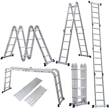 15.5 ft 5 m Escalera telescópica de multiusos - Escalera extensible Escalera multiusos de aluminio - Soporta hasta 150 kg Plata: Amazon.es: Bricolaje y herramientas