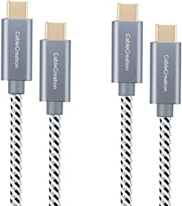 USB C Cable 10ft, [2-Pack]CableCreation USB C to USB C Braided Data Charging Cable(20V,3A) up to 480Mbps, Compatible with MacBook Pro, Galaxy S10/S9/S9+, Pixel 3XL 2XL, Essential,etc (Space Gray)