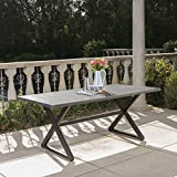 Rolando Outdoor Grey Aluminum Dining Table with Black Steel Frame Review