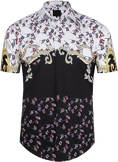 Camisas Hombre Verano Hipster Clásico Bandera Estampado Tops Manga Corta De Solapa Slim Fit Moda Juveniles Street Style Hip Hop Camisa Blusas: Amazon.es: Ropa y accesorios