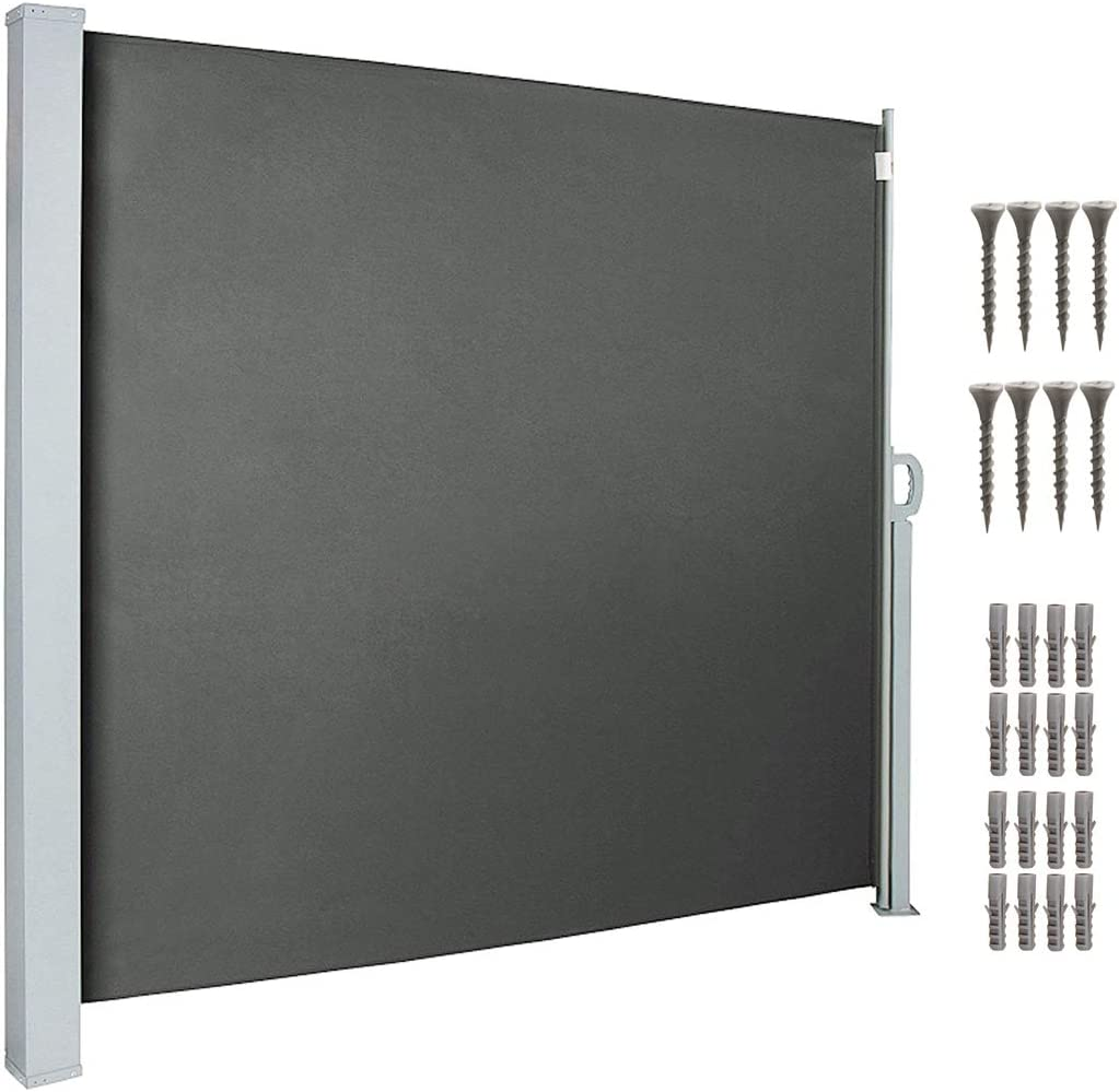 """uyoyous Privacy Fence 118.5"""" W x 63"""" H Patio Retractable Folding Side Awning Screen Divider"""