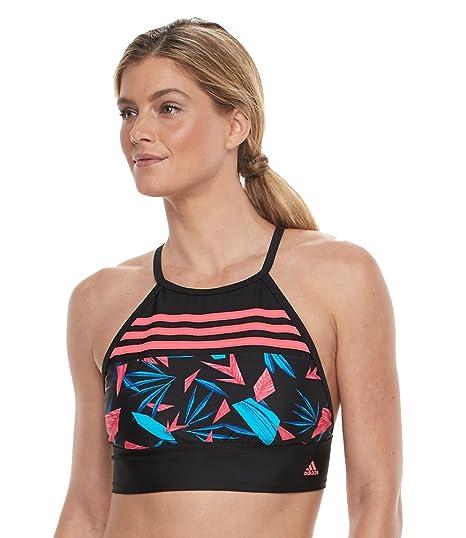 6498b852c7 Amazon.com  adidas Women s Geo Tropical High Neck Crop Bikini Top ...