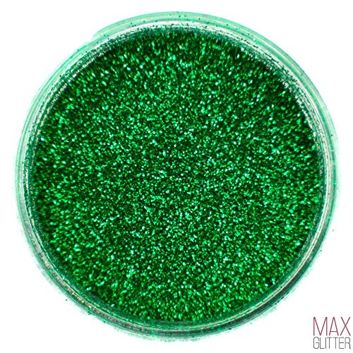 MAX Glitter - Premium Extra Fine Powder Glitter (0.008) | Solvent/UV Resistant Polyester Glitter | for Crafts, Slime, Lure Making and Epoxy | Cosmetic Grade (Deep Forest Green, 2oz. Jar)