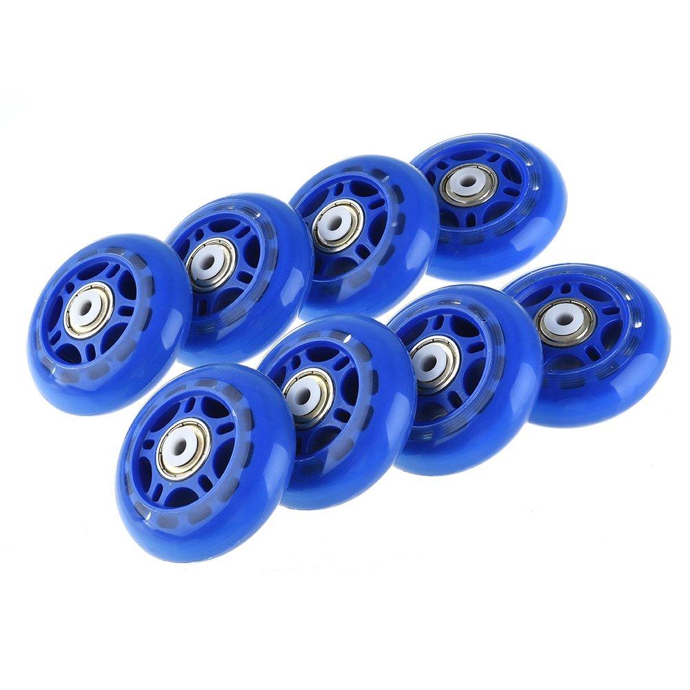 RUNACC Inline Roller Skate Wheels Premium Replacement Rollerblade Wheels with Bearings (Blue- Set of 8)