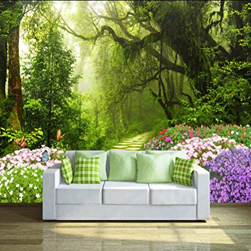 4210 Tv - Mural Fresh Original Forest Path 3D Tv Sofa Wall Custom Large Mural Green Wallpaper Papel De Parede para Quarto 400X280Cm