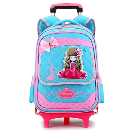 Geromg Wheeled School Backpack Wheels Kids Travel Trolley Bag Princess Schoolbag Children School Bags Girls Mochila