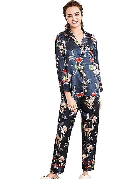 e7ad423b3 Mujer Pijamas Mujer Tops Pants 2 Primavera Pedazos Otoño Satín Modernas  Casual Conjunto De Pijama Elegantes