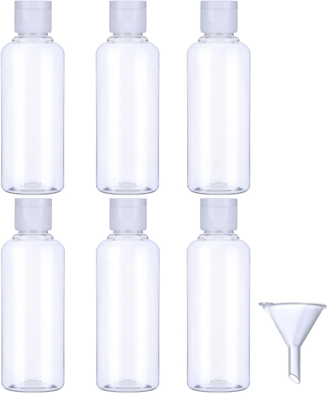 Botella de Viaje de Plástico Botella Transparente de Vuelo con Embudo Pequeño para Vuelo, Aeropuerto, Vacaciones (6 Piezas, 100 ML)