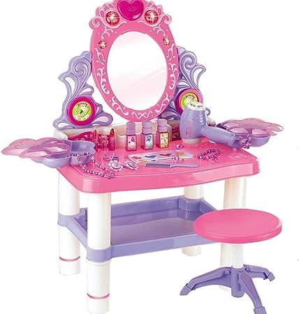 FFSM Mesa de tocador para niñas El Juego de Juguetes for niñas y niños Incluye Juguetes, Juegos de imaginación, cosméticos y Maquillaje para niños (Color : Pink, Size : 62 * 33 * 64.5cm): Amazon.es: Hogar