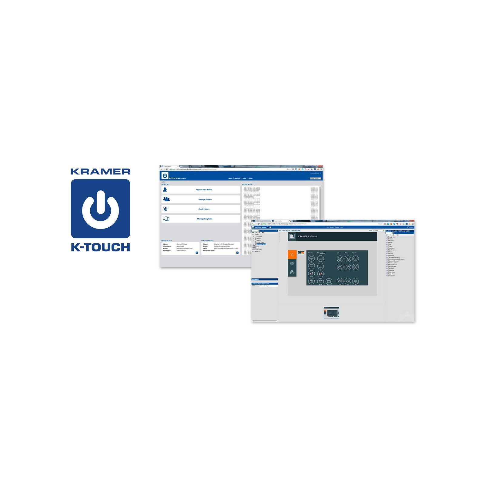 Kramer K-TOUCH ADD PANEL | Cloud iOS Android Room Control Platform 1 Additional Device