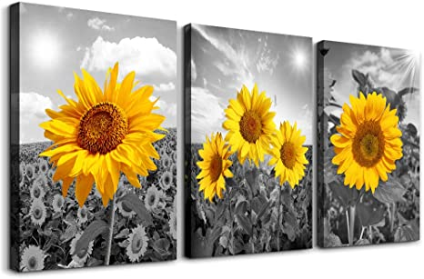 Amazon Com Canvas Wall Art For Living Room Kitchen Artworks Bedroom Decoration 3 Piece Bathroom Decor Black And White Landscape Yellow Sunflower Flowers Posters Pictures Painting Home