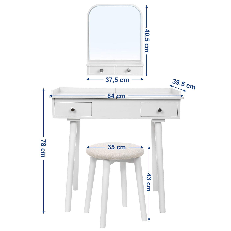 f/ür Schlafzimmer Garderobe,Wei/ß RDT105WT Hocker Frisiertisch mit Massivholzbeinen Ausziebarer Tischplatte SONGMICS Schminktisch mit Wandspiegel 4 Schubladen Herausnehmbarem Organizer