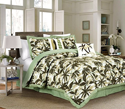 Kona By Chezmoi Collection 6-piece Tropical Palm Tree Surfboards Camouflage Bedding Comforter Set (Queen, - Print Bedding Hawaiian