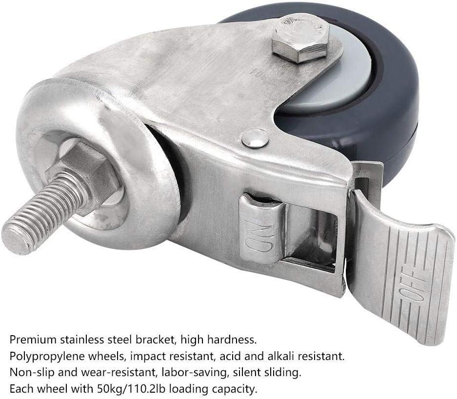 2 Brake Wheel Walfront Swivel Caster Stainless Steel Bracket Polypropylene Wheel M12 Screw Loading 50kg//110.2lb Universal Wheel