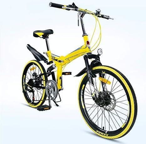 SHIN Bicicleta De Montaña Plegable Hombre,Mountain Bike Btt,Bici Unisex Adultos Ligera,Cuadro De Aluminio,7 Velocidades,Rueda De 22 Pulgadas,sillin Confort Ajustables/Yellow: Amazon.es: Deportes y aire libre