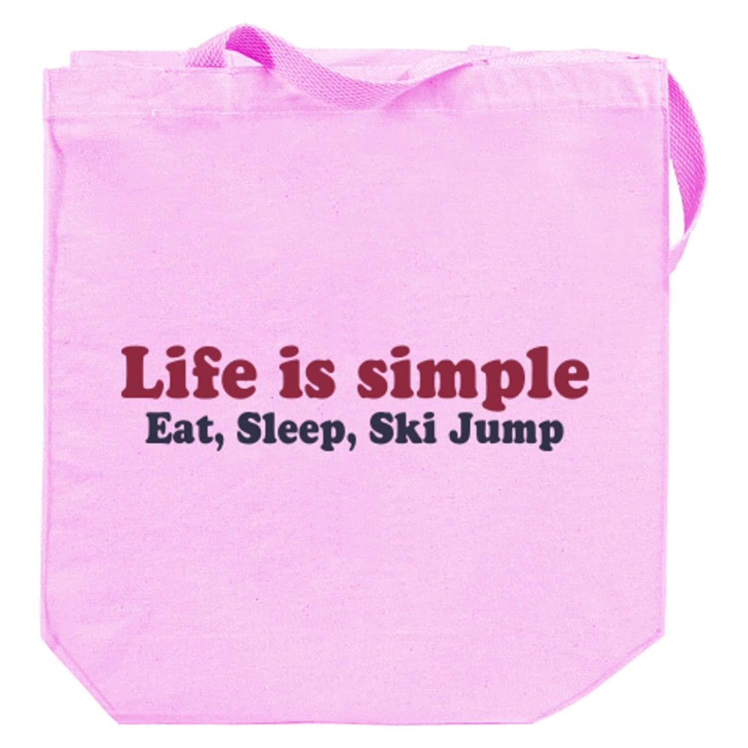 LIFE SIMPLE EAT , SLEEP Ski Jumping Canvas Tote Bag