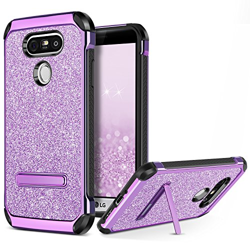 BENTOBEN Case for LG G5 Cover, Phone Case for LG G5, Glitter Bling Luxury Dual Layer Hybrid Hard PC Laminated Chrome Shockproof Protective Case for LG G5, Purple