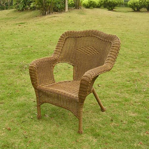 International Caravan 3180-2CH-MO-IC Furniture Piece Camelback Resin Wicker Patio Chairs (Set of 2)