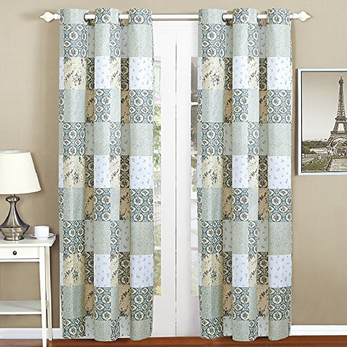 - All American Collection New 4pc Floral Printed Patchwork Blue/Green Curtain Set