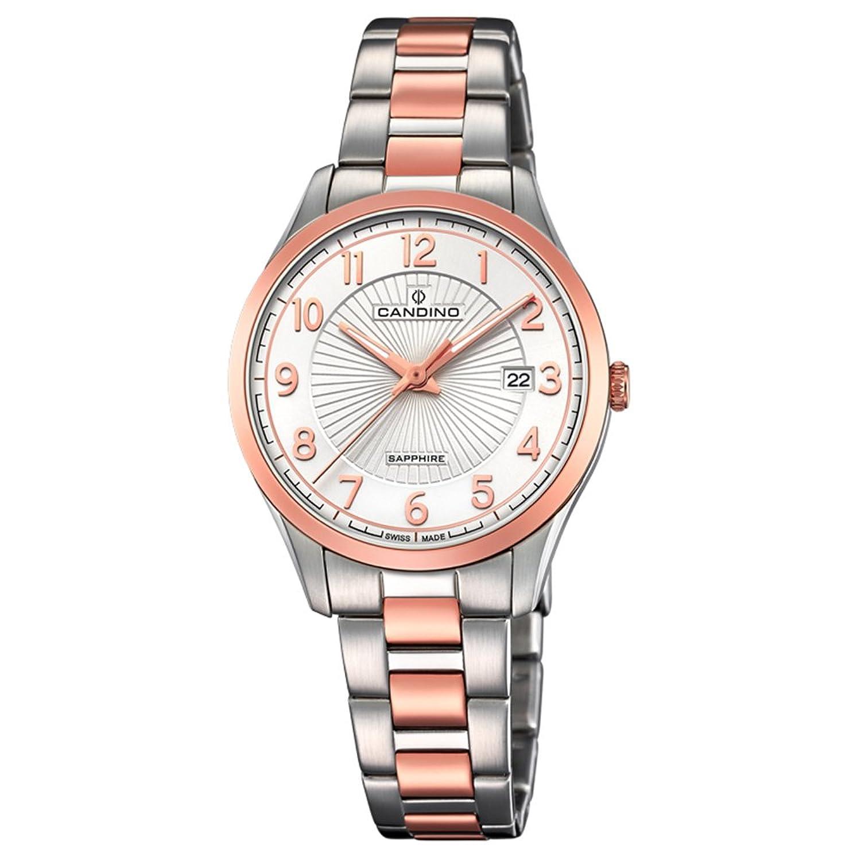 Candino Armbanduhr fÜr Damen Saphir analog Elegant mit Edelstahl-Armband silber kupfer rosÉgold Quarz-Uhr UC4610-