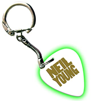 Neil Young Hot Foil on White Glow Pick llavero Púa: Amazon ...