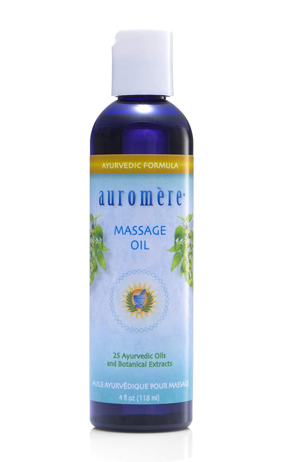 Auromere Ayurvedic Massage Oil - Vegan, Cruelty Free, Natural, Non GMO, with Deep Penetrating Oils and Herbal Extracts (4 fl oz)