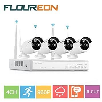 Floureon 4CH Wireless CCTV 1080P DVR Kit Outdoor Waterproof WIFI WLAN 1.3MP 720P IP Camera
