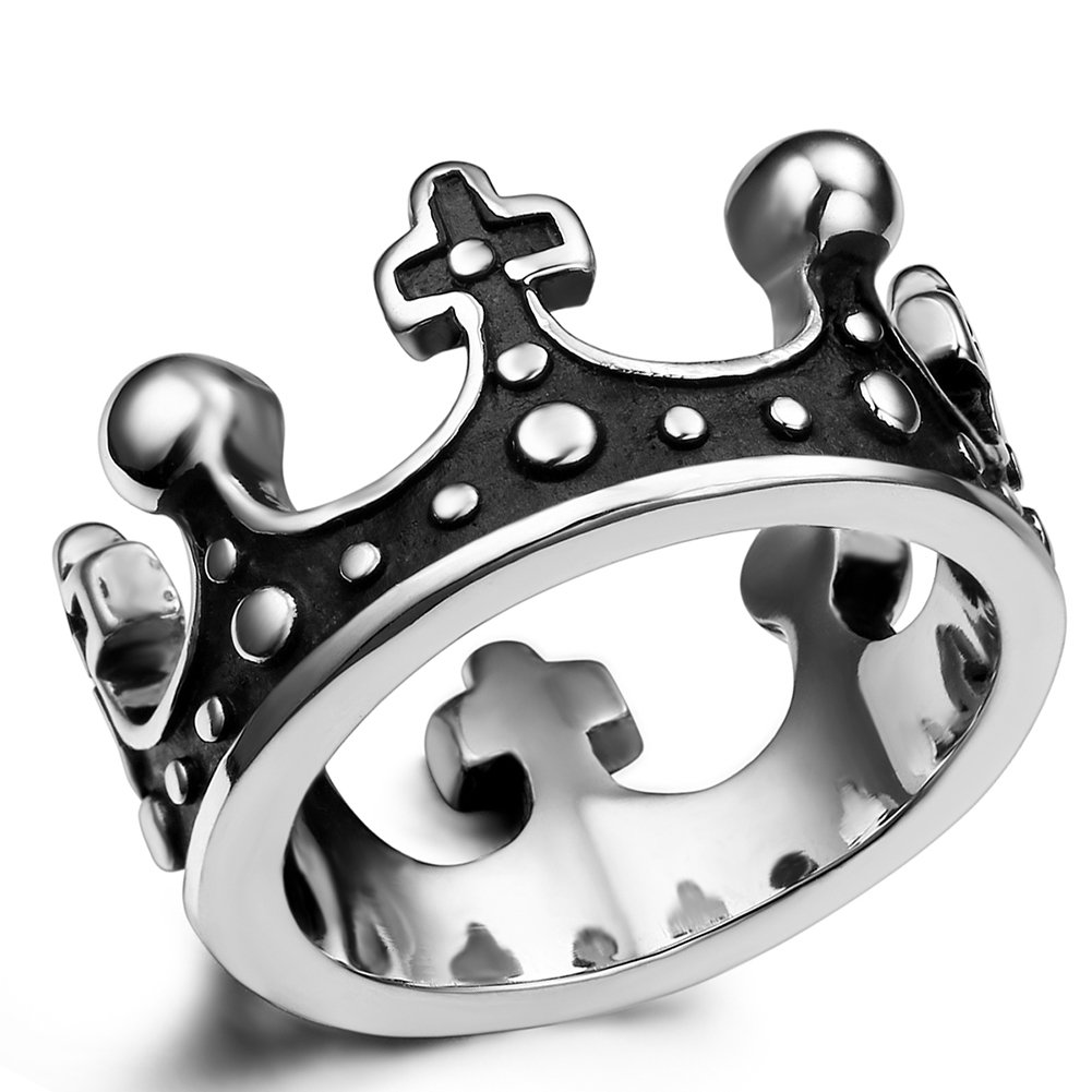 Flongo Men's Womens Vintage Stainless Steel Ring Black Silver Queen King Crown Gothic Band, Size 9, Royal King Crown Ring Cross Band, Knight Fleur De Lis Cross Ring