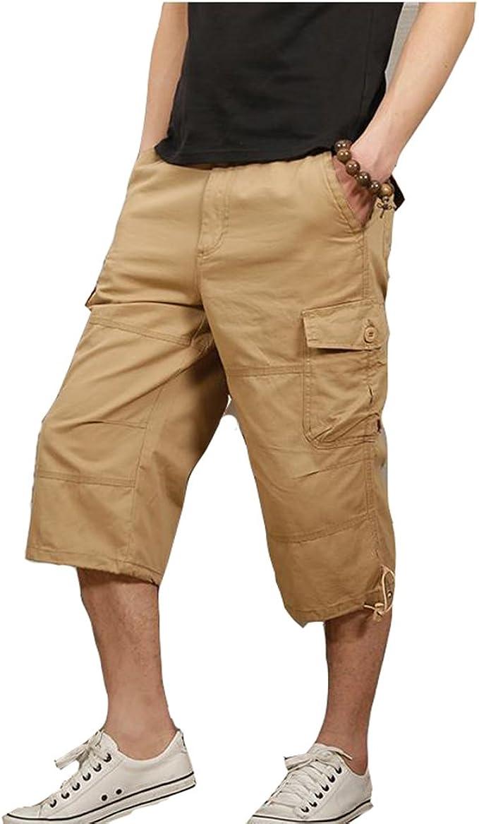 DSJJ Pantalones Cortos de Carga Hombres 3/4 Pantalones Militar ...