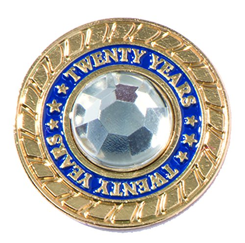 20 Years of Service Rhinestone Class Ring Appreciation Award Pin, 1 Pin