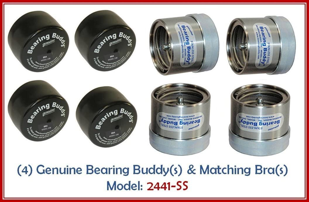 (4) 2.441 STAINLESS STEEL Boat Trailer BEARING BUDDY with Protective Bra - Wheel Center Caps 2441-SS (2 Pairs) 61WTI2MfJVLSL1056_