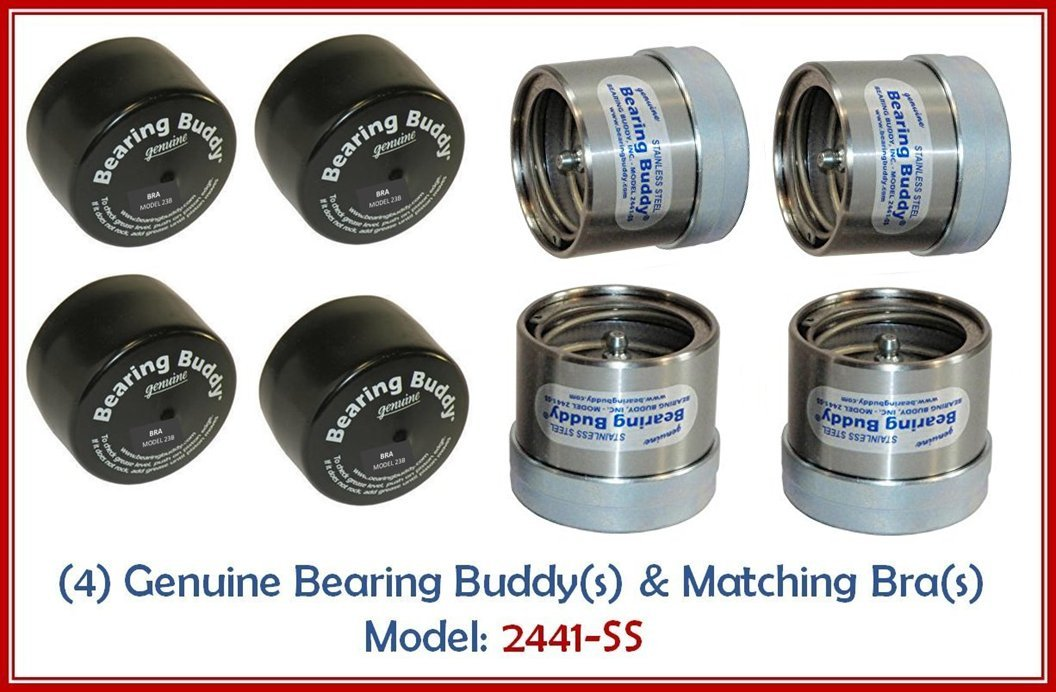 (4) 2.441 STAINLESS STEEL Boat Trailer BEARING BUDDY with Protective Bra - Wheel Center Caps 2441-SS (2 Pairs)