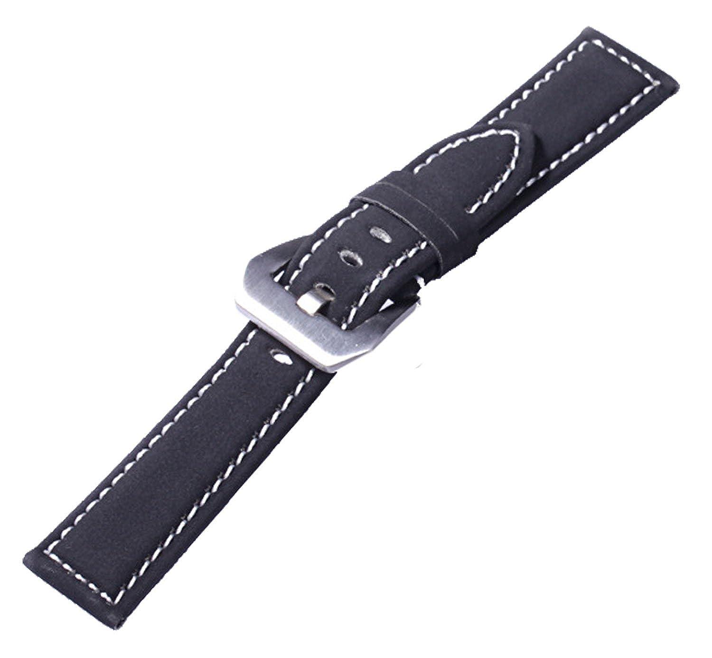 新しいスエード本革Military時計ストラップバンドArmyスタイル20 mm、ブラック B01HQ3ZR7E
