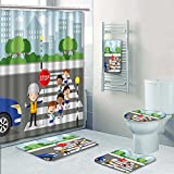 PRUNUSHOME 5-piece Bathroom Set-Includes Shower Curtain Liner,traffic guard help school kids cross road by h a stop sign Decorate the bathroom(Large)