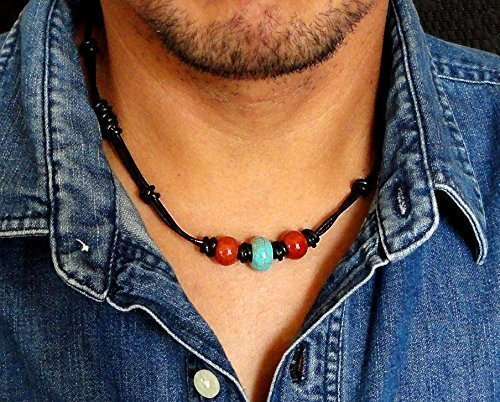 (Tribal Style Black Leather Choker Necklace, Blue Magnesite and Red Jasper Stone - Handcrafted in USA)