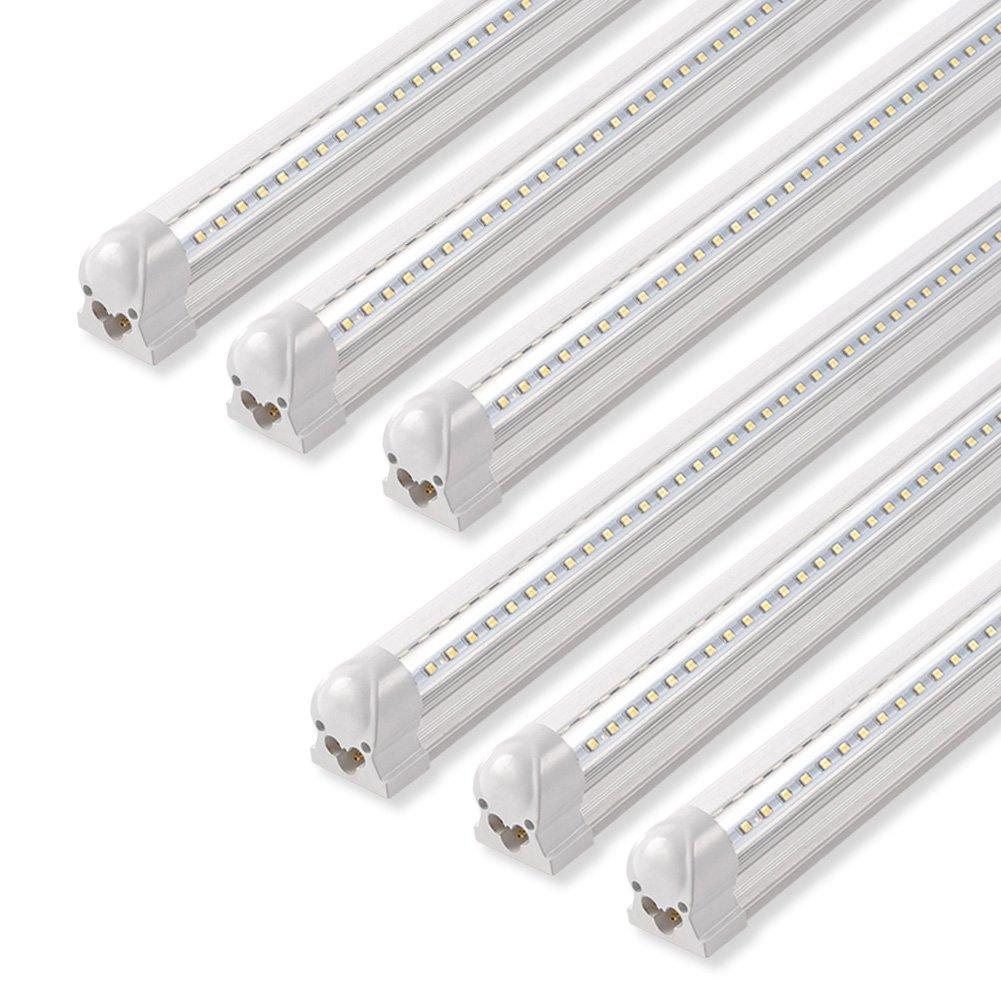 Barrina led shop light 40w 5000lm 5000k 4ft integrated fixture v shapet8 light tube daylight white clear cover hight output strip lights bulb
