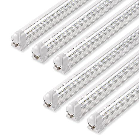 Led Shop Lights >> Barrina Led Shop Light 40w 5000lm 5000k 4ft Integrated Fixture V Shape T8 Light Tube Daylight White Clear Cover Hight Output Strip Lights Bulb